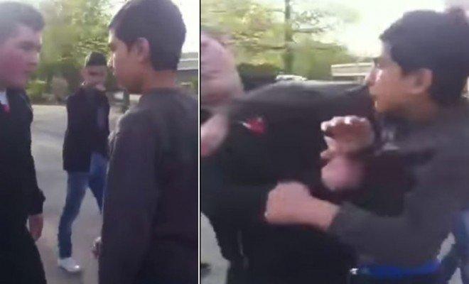 Little kid rearranges bullies face