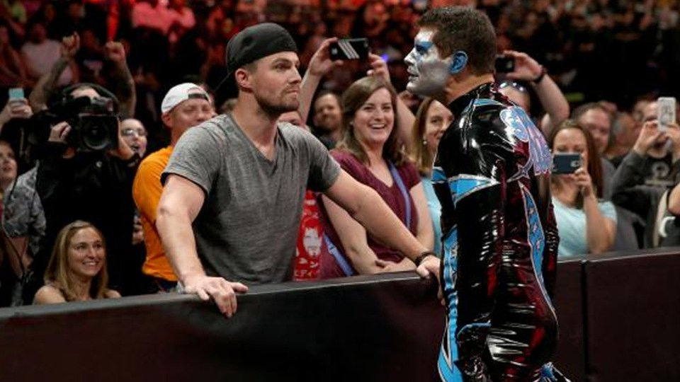 """Arrow"" star Stephen Amell had one of the most heavily pushed matches at SummerSlam. Photo by WWE."