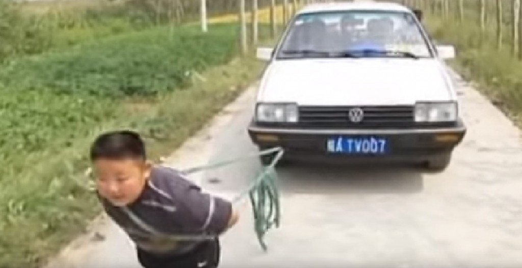This little dude is strong enough to pull a car!