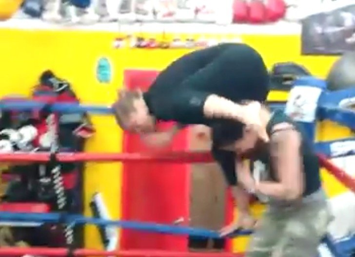 Continue to video of Rousey practicing WWE moves