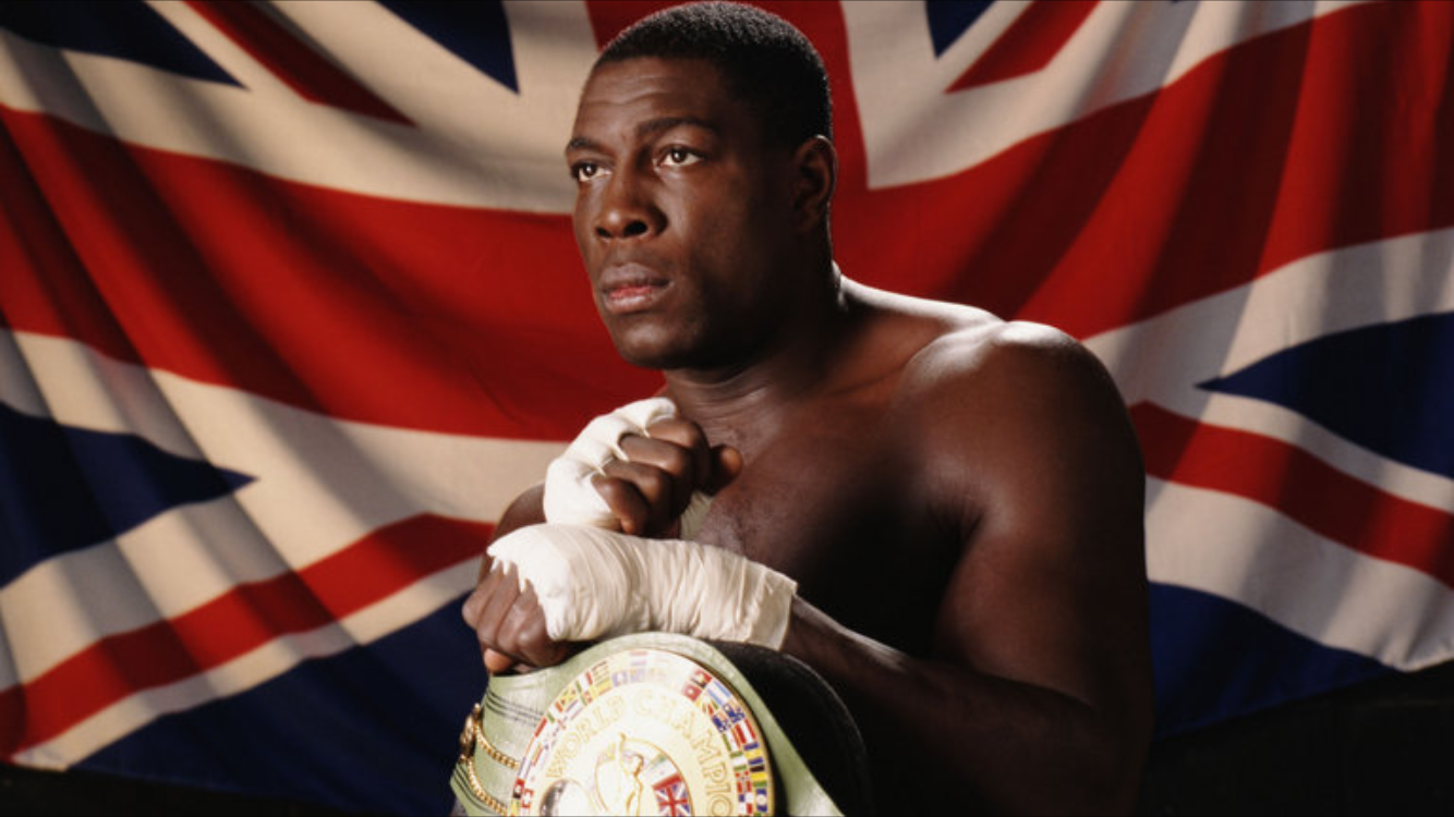 Frank Bruno back in the day with his WBC heavyweight belt