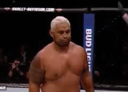 "Mark Hunt just walks away and says ""nah, he's dead""."