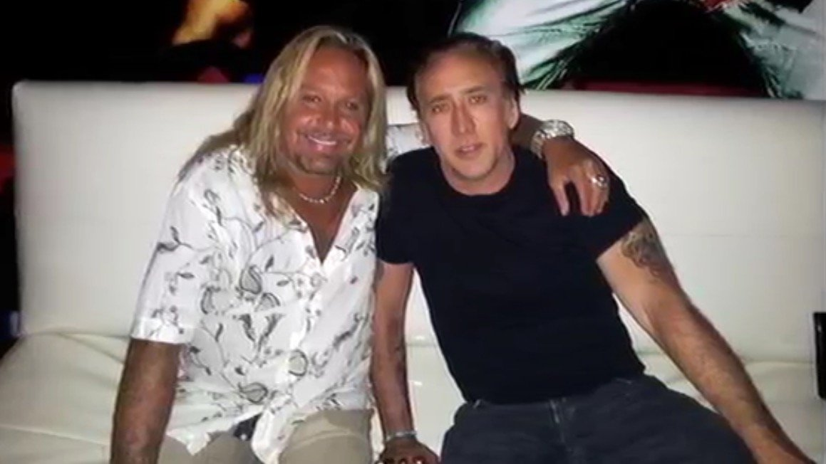Normally a lot more friendly: Vince Neil and Nicolas Cage