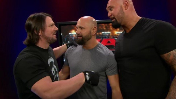 AJ Styles and his New Japan stablemates Karl Anderson and Doc/Luke Gallows greeted Cena on RAW. Screengrab by Dailywrestlingnews.com.