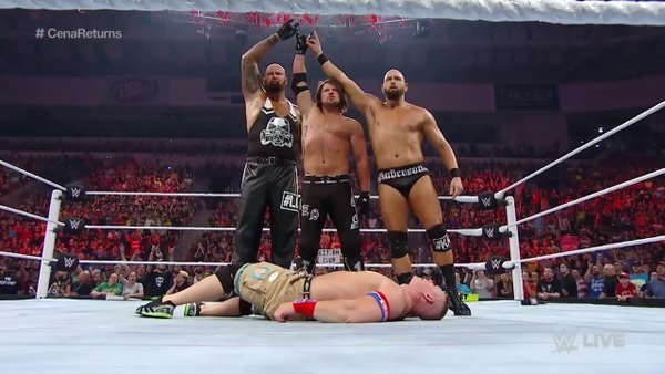 This probably won't end well for Gallows, Anderson and Styles. Screengrab by @WWEUniverse.