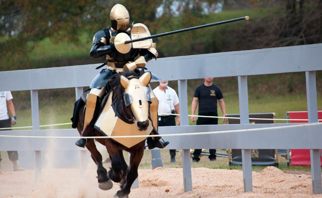 Unfortunately, it doesn't feature jousting. Photo from the short-lived Full Metal Jousting series.