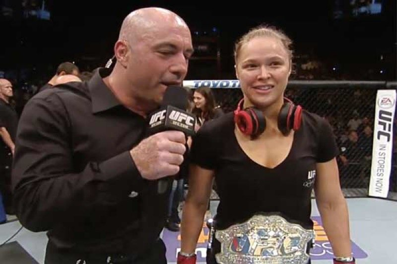 Rogan has interviewed them all over the years. Here with Ronda Rousey.
