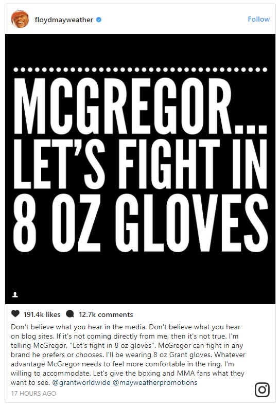 "Conor Responds Provocation of Floyd on Size of Gloves: ""Choice"""